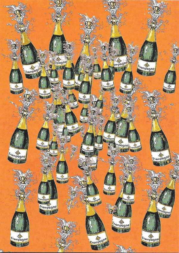 Greeting card with champagne bottles popping