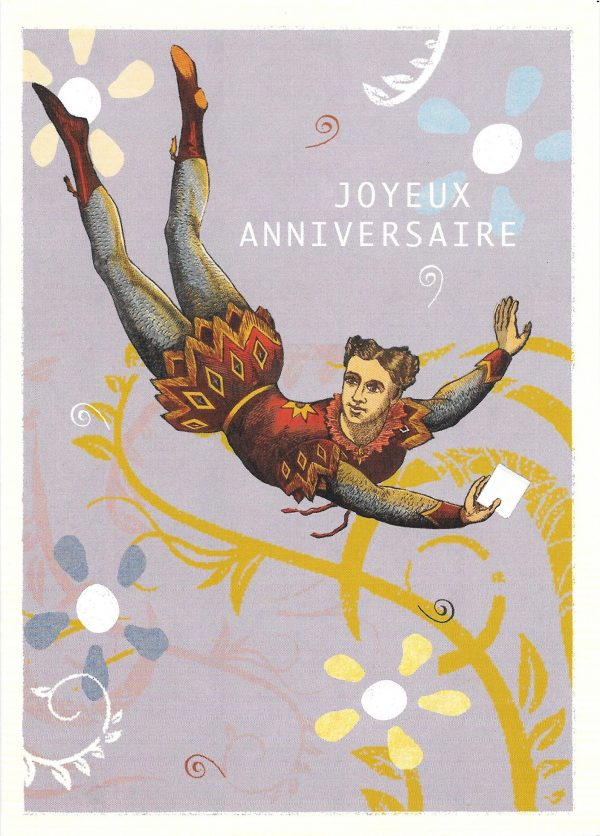 Happy birthday greeting card with flying man