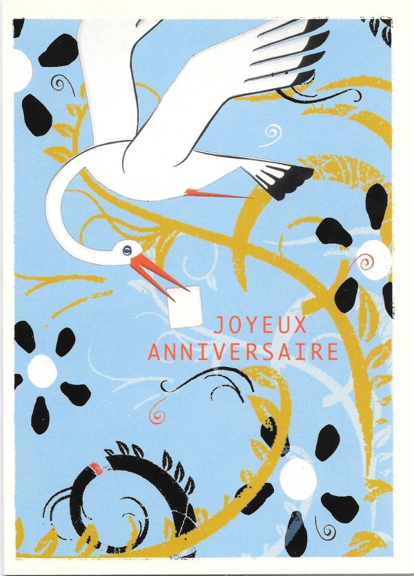 Happy birthday greeting card with stork