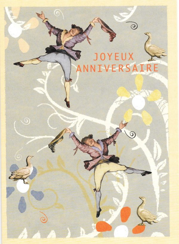 Happy birthday card with dancing men