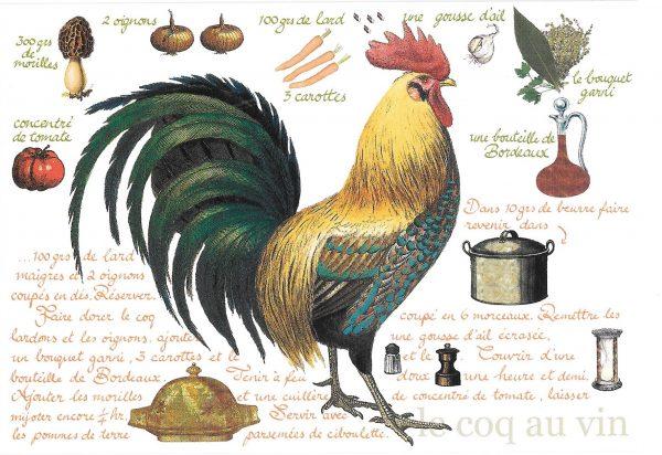 Coq au vin recipe card
