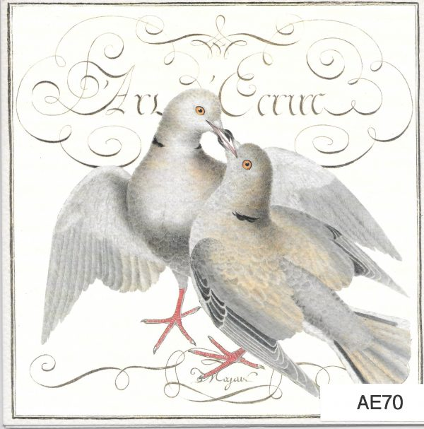 Two doves kissing square greeting card